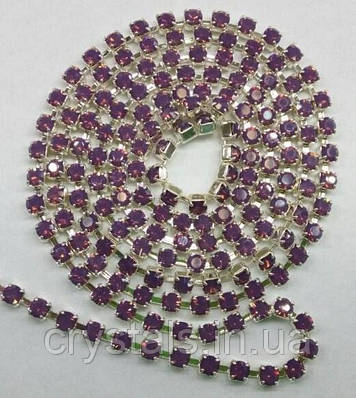 Стразовая цепь Preciosa (Чехия) ss12 Amethyst opal/серебро