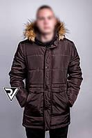 Зимняя куртка парка мужская с капюшоном Brown