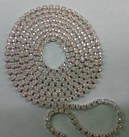 Стразовая цепь Preciosa (Чехия) ss6.5 Rose opal/серебро