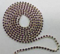 Стразовая цепь Preciosa (Чехия) ss6.5 Amethyst opal/серебро