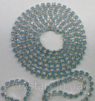 Стразовая цепь Preciosa (Чехия) ss8.5 Light Sapphire opal/серебро