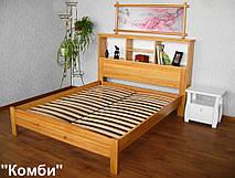 """Кровать с полками в изголовье """"Комби"""" (200*160), массив дерева - ольха, покрытие - лак."""