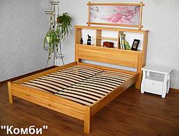 """Кровать с полками в изголовье """"Комби"""" (200*160), массив дерева - ольха, покрытие - лак. 11"""