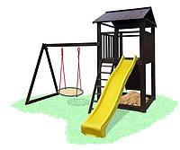 Детская игровая площадка домик с деревяной крышой и качелькой гнездо аиста  B - 12