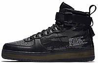 Мужские кроссовки Nike Special Field Air Force 1 Mid Tiger Camo (Найк Аир Форс высокие) черные камуфляжные