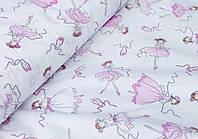 Ткань для детского постельного белья, поплин Балерины на белом