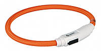 TRIXIE Светодиодный светящийся USB ошейник для котов и мелких собак, 35см / 7мм, оранжевый