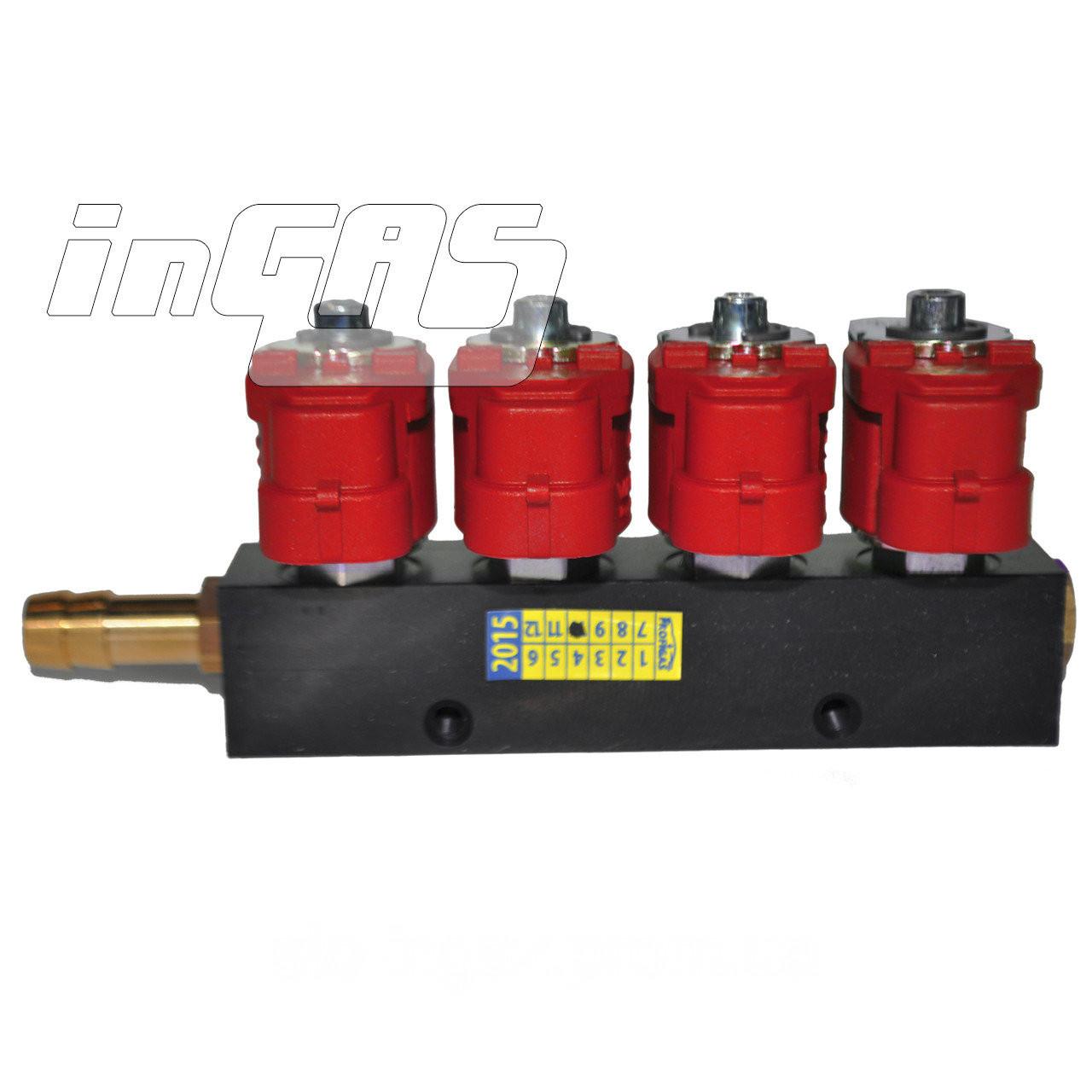 Форсунки Digitronic/Valtek/Greengas тип 30, 4 цил. 3 Oм, без жиклеров, со штуцерами в коллектор