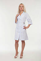 Медицинский халат белого цвета с вышивкой размеры 42 - 56