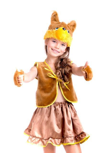 Карнавальный костюм для девочки Белка коричневая, новогодние костюмы оптом и в розницу
