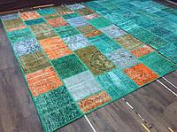 Экзотический эксклюзивный бирюзовый красивый ковер из кусочков шерстяных ковров