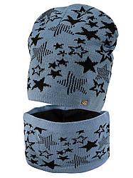 Детская теплая шапка + хомут на флисе для мальчика, в расцветках, Объём 54-56