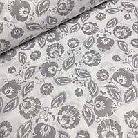 Польская бязь с серыми цветочками на белом фоне №738