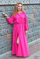 Длинное розовое платье с вышивкой Дерево жизни, фото 1