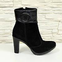 Ботинки женские  классические на высоком каблуке, натуральный замш т и кожа. 40 размер