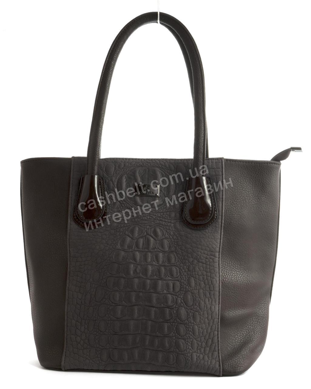 Вместительная прочная модная качественная  сумка с вставкой под рептилию SOFIYA art. 5066 коричневый