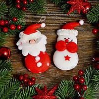 Новогоднее украшение Дед мороз+снеговик 0317