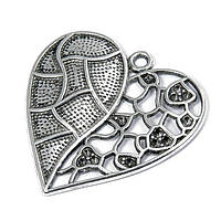 Кулон Сердце Металл, Цвет: Античное Серебро, Размер: 47x46x5мм, Отверстие 3мм, (УТ100008682)