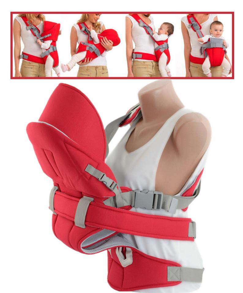Практичный эрго-рюкзак для переноски малышей TRAUM 7008-11, цвет красный.