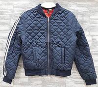 Куртка бомбер женская короткая без капюшона с лампасами на рукаве темно синяя 22016.1