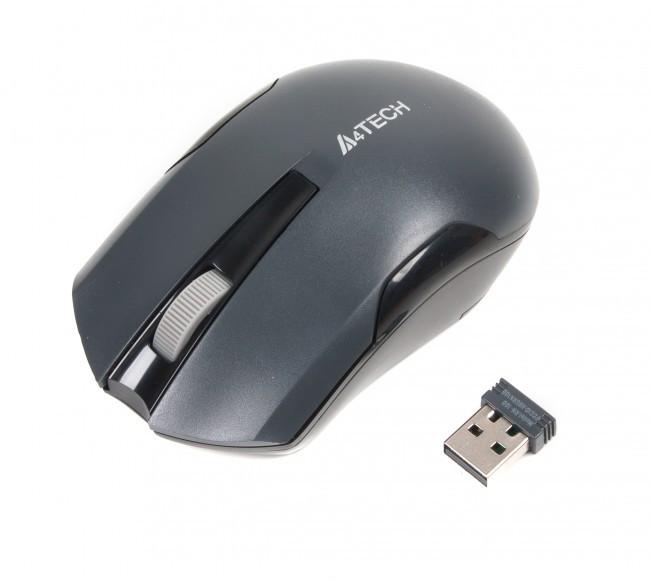 Мышь A4 Tech G3-200N 1000dpi Grey, USB V-TRACK, беспроводная, мышка