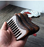Гребень деревянный из сандала редкие зубья, фото 3