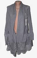 """Кардиган женский без застежки с кружевом, размер 48-52 Серии """"ITALIA"""" купить оптом в Одессе на 7 км, фото 1"""