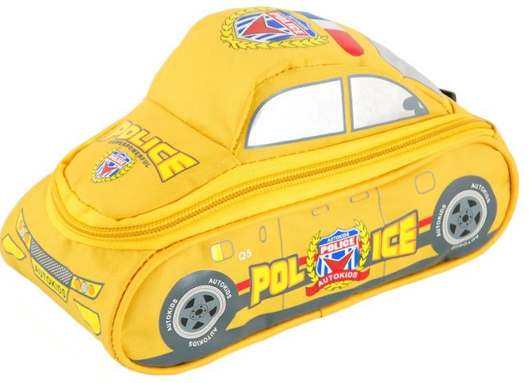 """Детский школьный пенал в виде полицейской машины серии """"Autokids"""" TRAUM 7009-14, желтого цвета."""