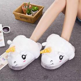 Домашние тапочки игрушки Единорог Белые
