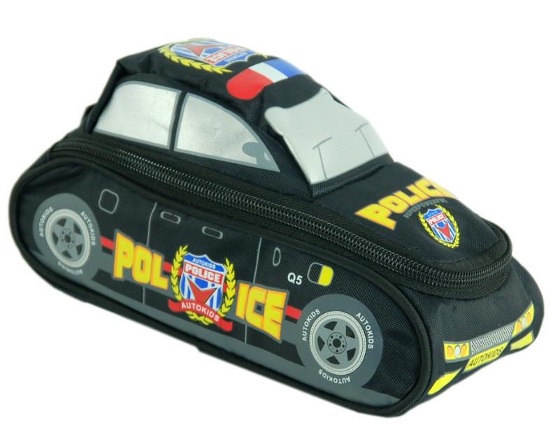 """Детский школьный пенал в виде полицейской машины серии """"Autokids"""" TRAUM 7009-15, черного цвета."""