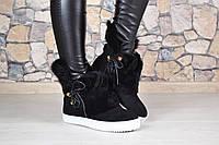 Женские зимние чёрные ботиночки с натуральном мехом