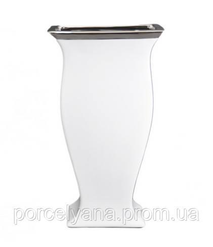 Ваза керамическая 350мм белая с серебром Anlux