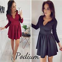 Платье женское  Ткань -дайвинг  Цвета - бордо чёрный серый супер качество лкар № 75752