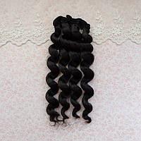 Волосы для кукол кудри в трессах, черный - 15 см