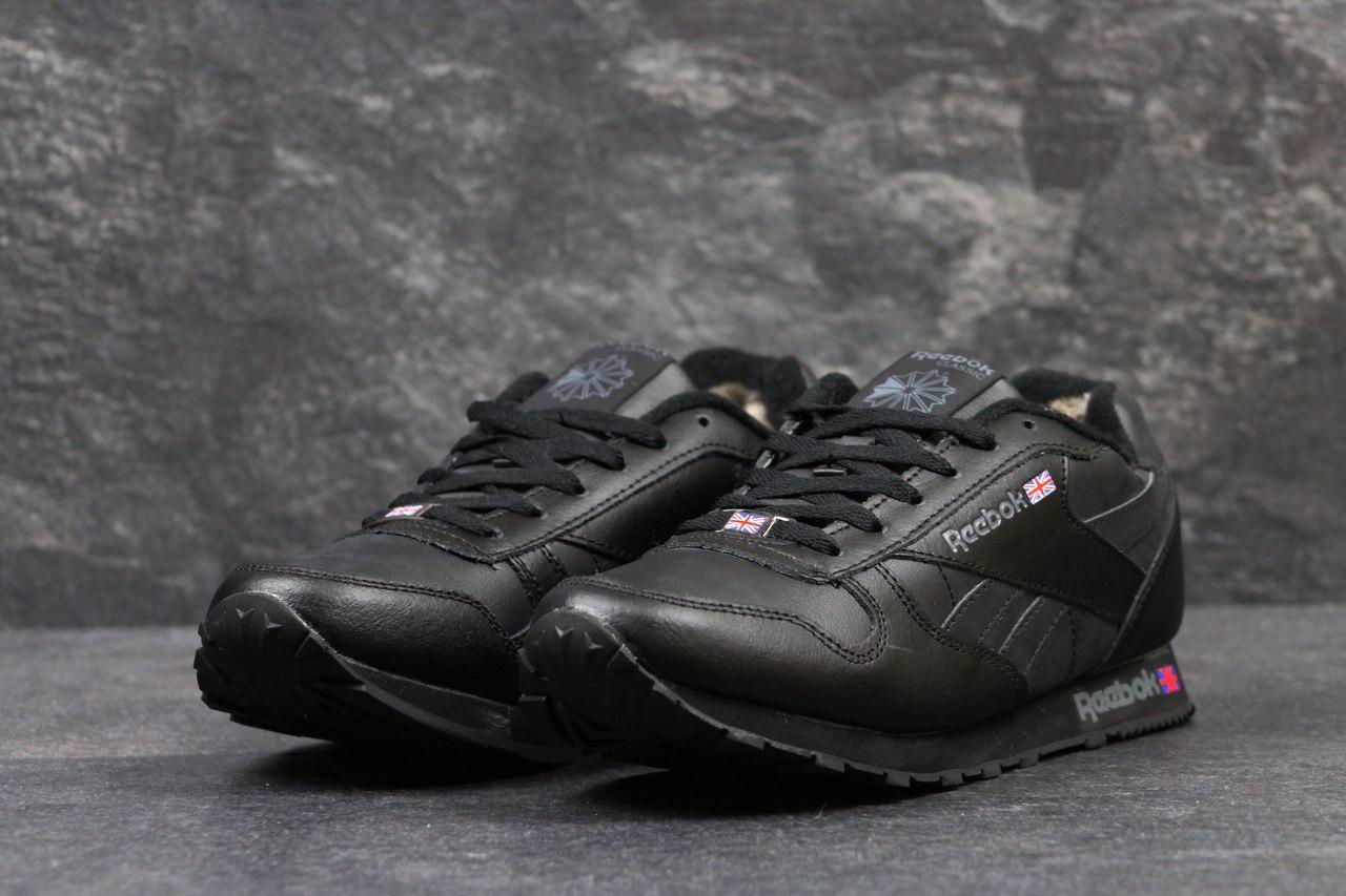 Мужские зимние кроссовки Reebok черные на меху