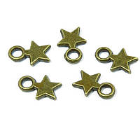 Кулон Звезда, Металл, Цвет: Бронза, Размер: 10х8x2мм, Отверстие 2.5мм, (УТ100008743)