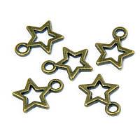 Кулон Звезда, Металл, Цвет: Бронза, Размер: 12х10мм, Отверстие 2мм, (УТ100008746)