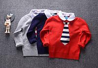 Детский свитер с воротником рубашки для мальчиков