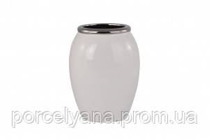 Ваза керамическая 245мм белая с серебром Anlux