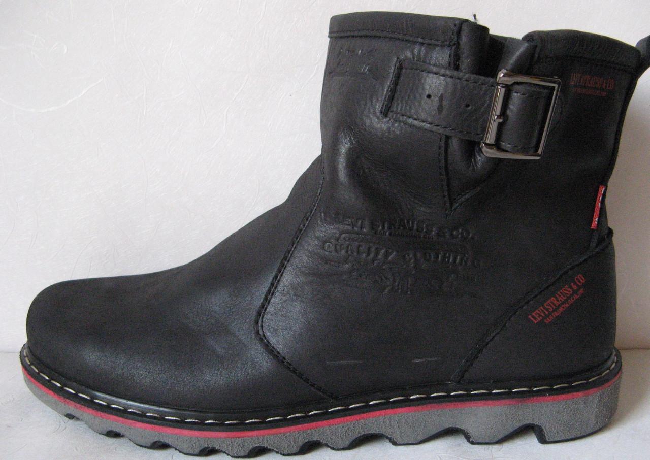 Levis! Зимние черные кожаные в стиле  Levi's Угги! Левис ботинки сапоги женские уги унисекс