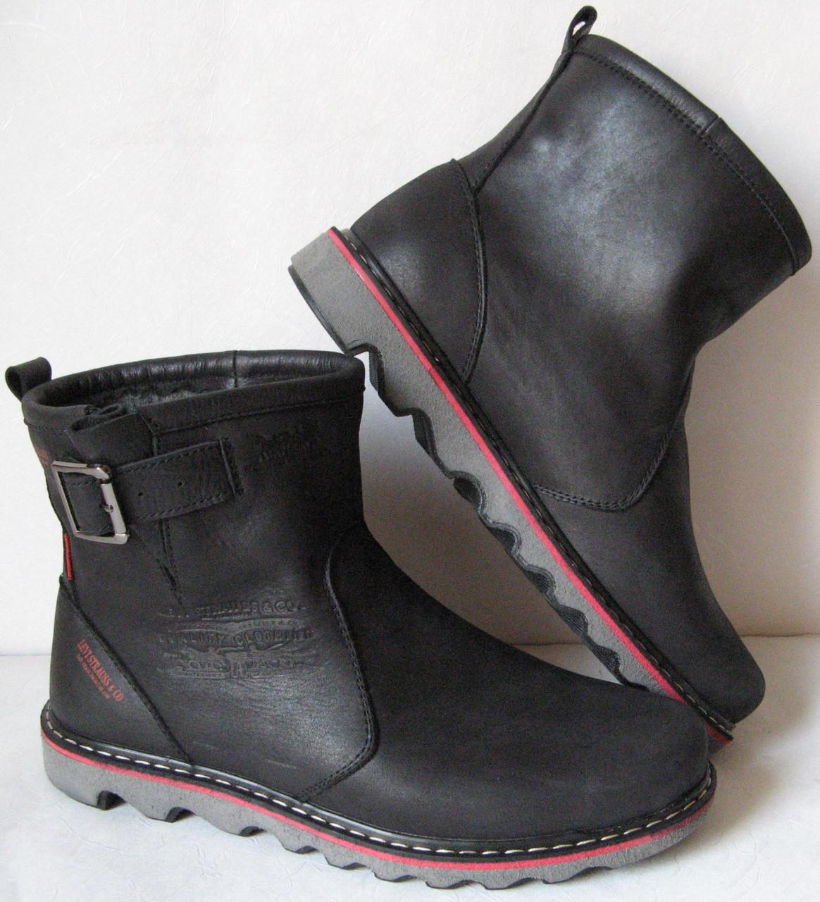 Levis! Мужские зимние черные кожаные в стиле  Levi's Угги! Левис ботинки сапоги уги