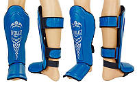 Защита для голени и стопы Муай Тай, ММА, Кикбоксинг кожаная EVERLAST (р-р M, синий)