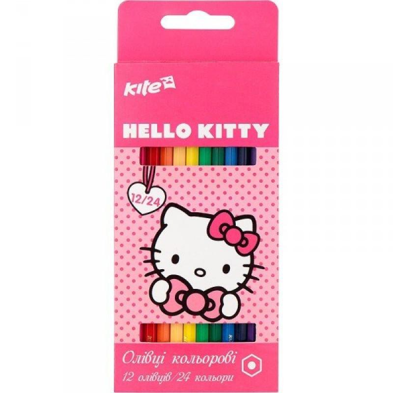 Карандаши цветные Kite, 12 шт. Hello Kitty двухсторонние, HK17-054