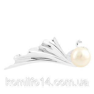 Серебряная брошь с речным жемчугом