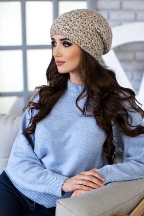 Зимняя женская шапка «Денвер» Светлый кофе
