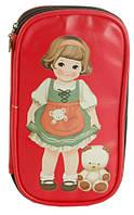 Детский пенал  с рисунком, на молнии TRAUM 7009-23, цвет красный.