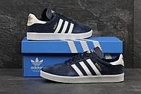 Мужские кроссовки Adidas Gazelle темно синие 3265