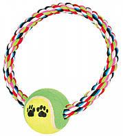 TRIXIE (Трикси) Теннисный мяч (диам 6см) на веревке-ринге 18см - игрушка для собак