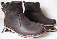 Levis! Зимние коричневые кожаные в стиле Levi's Угги! Левис ботинки сапоги для женщин уги унисекс