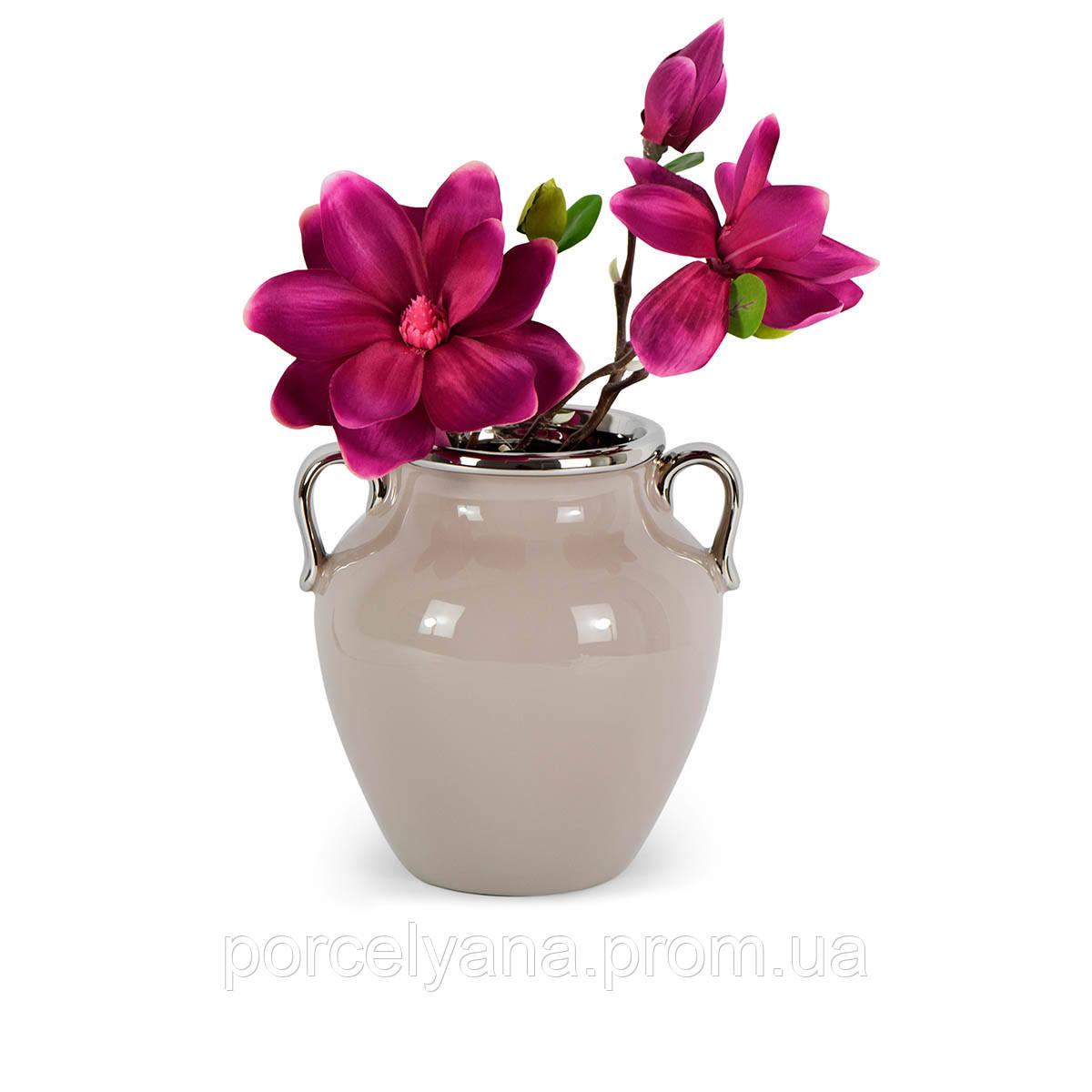 Керамическая ваза Amphora 210мм кофейная серебро